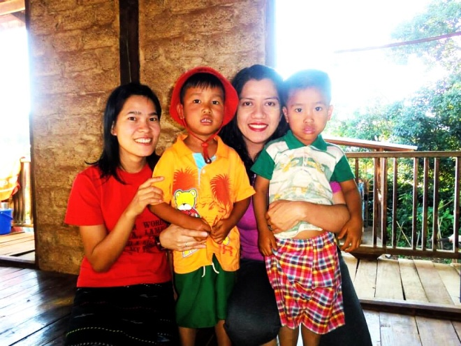 Ma Si with nephews in Myanmar