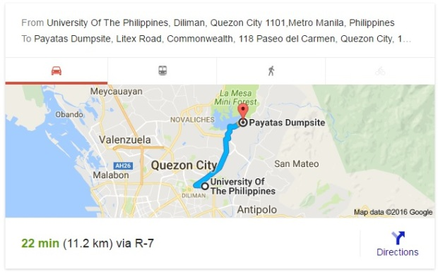 Payatas to UP Diliman Map